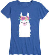 Instant Message Women's Women's Tee Shirts HEATHER - Heather Royal Blue Llama Flower Crown Relaxed-Fit Tee - Women