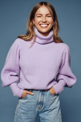 Nasty Gal Womens Get Knit Right Turtleneck Balloon Sleeve Sweater - Lilac