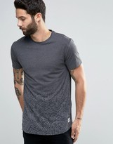 ONLY & SONS Super Longline T-shirt with Curved Hem & Faded Print Detail