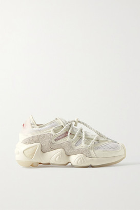 adidas 032c Salvation Leather, Suede, Mesh And Neoprene Sneakers - White
