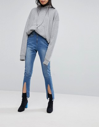 N. Liquor Poker Skinny Jean with Exposed Zip and Spliced Hems-Blue