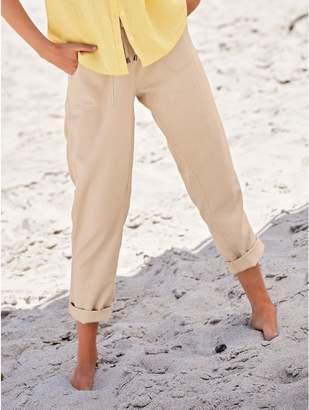 M&Co Petite slim leg linen trousers