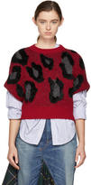 Junya Watanabe Red Jacquard Leopard Sweater