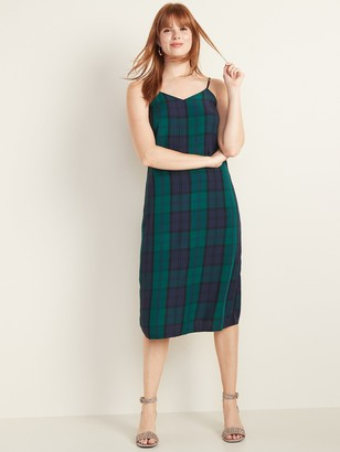 Old Navy Sleeveless Plaid Midi Slip Dress for Women