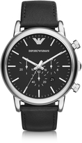 Emporio Armani Silver Tone Stainless Steel & Black Leather Strap Men's Watch