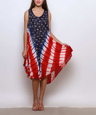 Americana Jessica Taylor Women's Casual Dresses RED/WHT/BLUE - Red & Blue Tie-Dye Embroidered Sleeveless Dress - Women