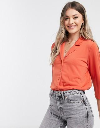 JDY wellina cropped v neck blouse in orange