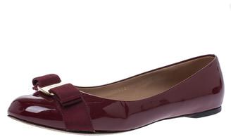 Salvatore Ferragamo Maroon Patent Leather Vara Bow Ballet Flats Size 38.5