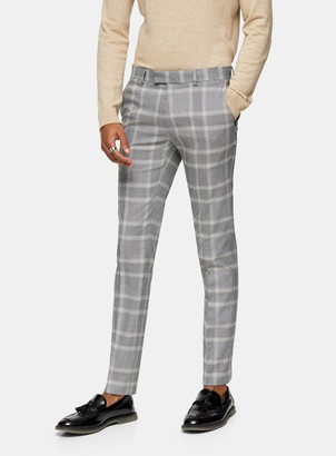 Topman Grey Check Super Skinny Fit Suit Trousers