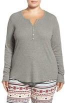 PJ Salvage Plus Size Women's Rib Henley Top
