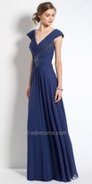 Camille La Vie Beaded Chiffon Off The Shoulder Evening Dress
