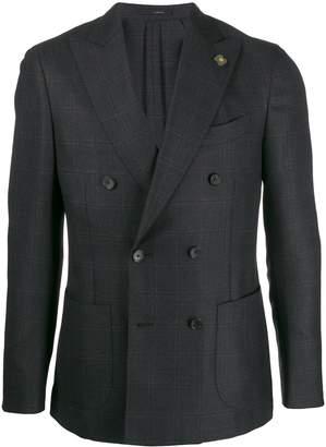 Lardini check double breasted blazer