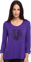 Versace Jersey Logo 3/4 Length Sleeve Top Women's Long Sleeve Pullover
