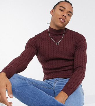 ASOS DESIGN Tall muscle fit lightweight cable jumper in burgundy