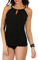 Miraclesuit Solid Ruffle Peephole DD Cup High Neck Underwire Tankini
