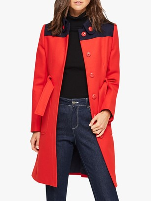 Damsel in a Dress Baylie Wool Blend Coat, Red/Navy