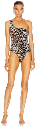 Ganni Recycled Printed Swimsuit in Leopard | FWRD