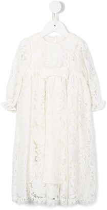 Dolce & Gabbana Kids Floral Lace Ceremony Gown