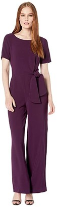 Tahari ASL Short Sleeve Stretch Crepe Jumpsuit with Side Tie Detail (Aubergine) Women's Jumpsuit & Rompers One Piece