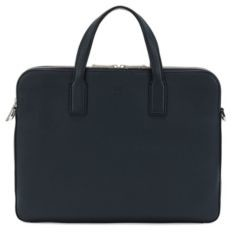 HUGO BOSS Double document case in grainy Italian leather
