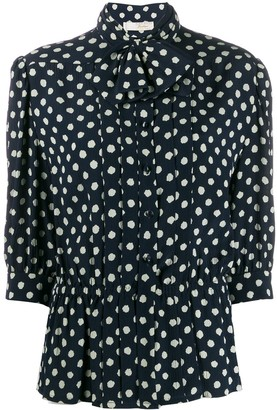 Nina Ricci Pre Owned 1980s Polka Dotted Pussy Bow Blouse