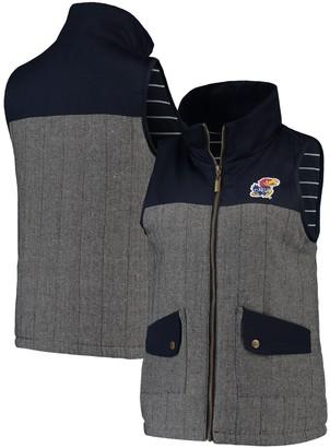 Women's Navy Kansas Jayhawks Prep For It Herringbone Knit Full-Zip Vest