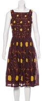 David Meister Pleated Floral Print Dress