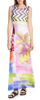 Fuzzi Floral & Chevron Print Maxi Dress
