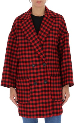 RED Valentino Plaid Double-Breasted Coat