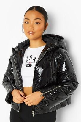 boohoo Petite High Shine Zip Sleeve Puffer Coat