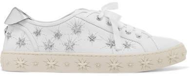 Aquazzura Cosmic Stars Embellished Leather Sneakers - White