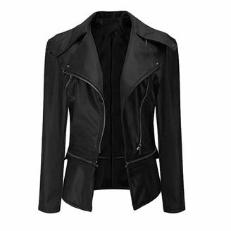 MINGGER Ladies Leather Jacket Studded Waist Zip Closure Slim Long Sleeved Coat Black