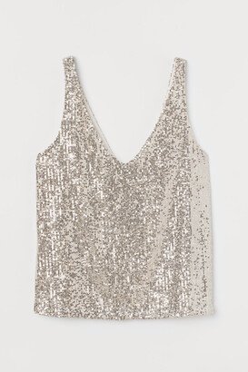 H&M Sequined Sleeveless Top - Beige