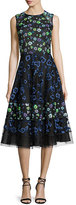 Oscar de la Renta Floral-Embroidered Sleeveless Cocktail Dress, Black/Multi