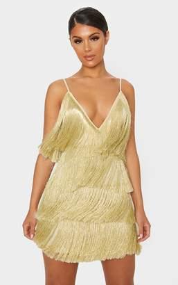 PrettyLittleThing Gold Tassel Fringed Strappy Bodycon Dress
