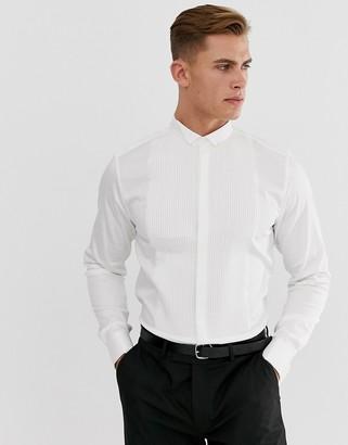 ASOS DESIGN BEIGHTON slim sateen shirt with pleated front bib & wing collar