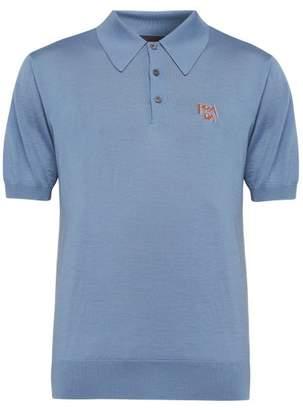 Prada Logo-jacquard Wool-blend Polo Shirt - Mens - Light Blue