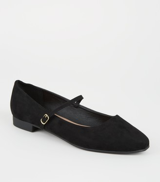 New Look Wide Fit Suedette Mary Jane Pumps