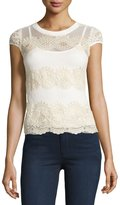 Romeo & Juliet Couture Cap-Sleeve Lace Top, Cream