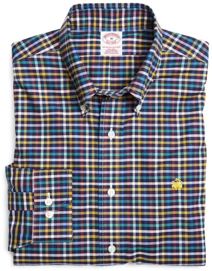 Brooks Brothers Supima® Cotton Non-Iron Regular Fit Navy Multi Check Sport Shirt