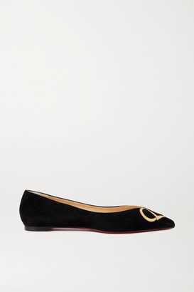 Christian Louboutin Cl Mirrored Leather-trimmed Suede Point-toe Flats - Black