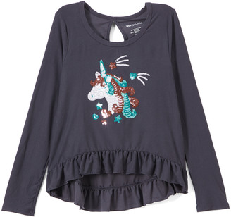 Colette Lilly Girls' Tee Shirts GRAY - Gray Moon Sequin Unicorn Long-Sleeve Top - Toddler