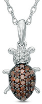 Zales 1/6 CT. T.W. Enhanced Red and White Diamond ladybug Pendant in Sterling Silver