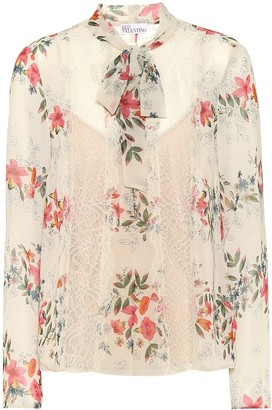 RED Valentino Floral lace-trimmed blouse