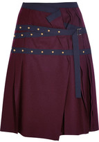 Sacai Pleated Stud-Embellished Wool Mini Skirt