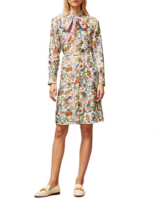 Tory Burch Contrast Binding Printed Shirtdress
