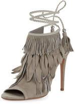 Aquazzura Fringe Suede 105mm Sandal, Light Gray