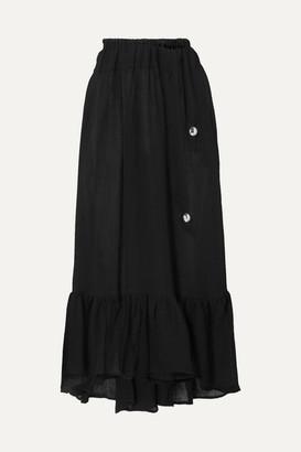 Lisa Marie Fernandez Nicole Ruffled Linen-blend Gauze Midi Skirt - Black