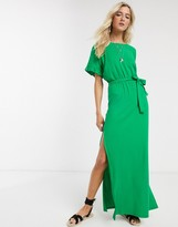 Asos Design DESIGN frill sleeve belted maxi dress in green
