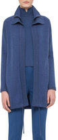 Akris Double-Collar Cashmere Zip-Front Cardigan Coat, Blue Jay